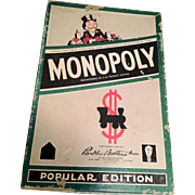 SALE Monopoly Game from 1954, Tin Pieces, Cards, Money, Titles, Wood Houses