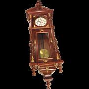 SALE Antique Gustav Becker Vienna Wall Regulator Clock Runs Strikes Great Case 1870s