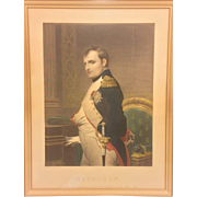 """Antique Aquatint Engraving of Napoleon Gilt Wood Frame with """"N""""s in the Corners Paul"""