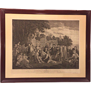 SALE Antique Framed Engraving William Penn's Treaty with the Indians Setting up Province of ..