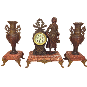 SALE Antique Japy Freres French Clock & Garniture Set Marble & Bronze Runs & Strikes