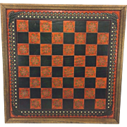 SALE Vintage Leather Hand Tooled Game Board in Wood Frame