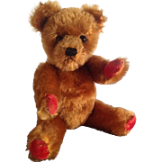 "Vintage Brown 15"" Twyford Farnell bear 1950'S - 1960'S with red velvet pads and ..."