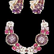 1937 Crown Trifari Amethyst and Ruby Colored Rhinestone Bracelet and Dress Clip Set