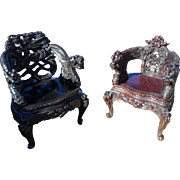 Antique Japanese Hand Carved Dragon Chairs