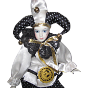 Vintage Reinhart Faelens Hand Painted Porcelain Harlekin's Jester Doll