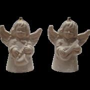 Vintage Goebel White Matte Angel Ornaments