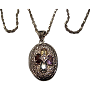 Sterling .925 Silver Locket with Cross and Chain