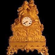 19th Century French Gilt Bronze Clock (Epoque Restauration)