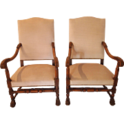 Pair of 19th century French Louis XIII style walnut armchairs