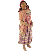 REDUCED 15 inch  Lovely Latin Woman & Baby Cloth Art Doll  circa 1920