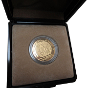 SALE 1985 22k MEXICO 250 PESO PROOF GOLD COIN, 1986 WORLD CUP, IN FELT BOX ...