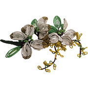 Large 1930's Beaded Flower Corsage Pin