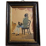 SOLD Painted Silhouette of a Seated Gentleman, British School, 18th Century