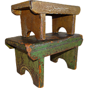 Two Painted Southern Foot Stools 19th Century