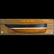 English Half-Hull Painted Wooden Model Tug
