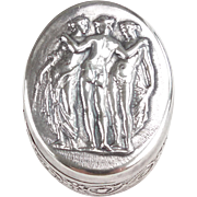"Sterling silver ""Three Graces"" small oval pill box"