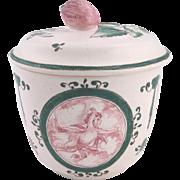 Antique French faience porcelain sugar bowl, Sceaux or Samson