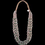 "Santo Domingo 5 strand Heishi and Malachite Nugget necklace, 36"""