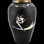 Mid century Asian bronze vase, abstract bird Mother of Pearl inlay