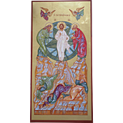 21st Century Original Icon of Transfiguration, with 24 kt gold leaf, acrylic on masonite