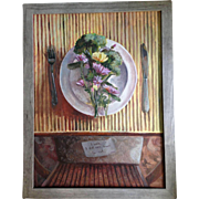 Original Acrylic conceptual painting of a Vegan plate of food
