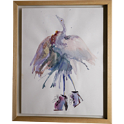 Original watercolour painting of surreal Bird wearing fashionable shoes.