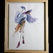 Original watercolour painting of surreal Bird wearing fashionable Margiela boots.