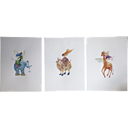 Original watercolour painting of surreal animals. Sheep, Elephant, Giraffe. Signed by the ...
