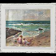 "Original contemporary painting ""On the Shore"". Acrylic on canvas, by Ksenia Sapunkov"