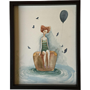 Original watercolor painting of the girl on the Suitcase. 21st century