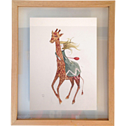 Original 21st century surreal watercolour painting of Giraffe and a girl, Signed by artist.