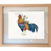 Original 21st century surreal watercolour painting of the Rooster and a girl, Signed by artist