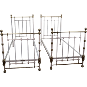 Quality Pair of Victorian Style Painted Iron & Brass Twin Beds