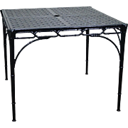 Hollywood Regency Faux Bamboo Chinese Chippendale Cast Aluminum Square Patio Dining Table