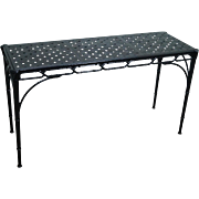 Hollywood Regency Faux Bamboo Chinese Chippendale Black Cast Aluminum Console Sofa Table