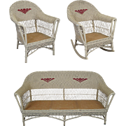 Antique Victorian Wicker Sofa Lounge Chair Rocker Parlor Set