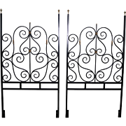 Quality Pair of Black Painted Iron & Brass Twin Size Headboards