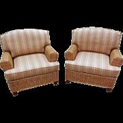 Quality Pair of Wicker Rattan Lounge Club Chairs w/ Sunbrella Cushions (A)