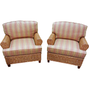 Quality Pair of Wicker Rattan Lounge Club Chairs w/ Sunbrella Cushions (B)