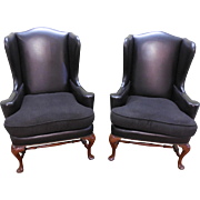Baker Pair of 18th Century Style Mahogany Framed Black Wing Chairs