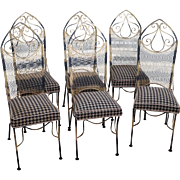 Vintage Set of 6 Hollywood Regency Black & Gold Iron Patio Dining Chairs