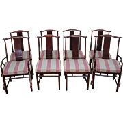 Baker Asian Inspired Set of 8 Solid Mahogany Dining Chairs