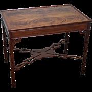 Baker Flame Mahogany Chippendale Style Tea Table