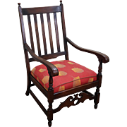 Antique Solid Walnut Jacobean Style Lounge Chair