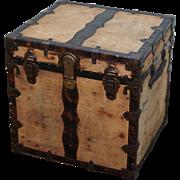 Antique Cube Square Travelers Chest Trunk
