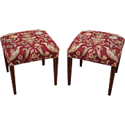 Quality Pair of Vintage Mahogany Hepplewhite Inlaid Benches Ottomans