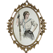 Harrison Fisher Print in Old Oval Brass Frame With Convex Glass