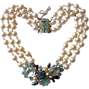 Early Gaultier 'Traditional' Faux Pearl Necklace with 'Blue Opal', Crystals Centerpiece