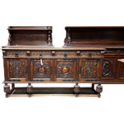 SALE Large Spanish Style Carved Oak Sideboard Buffet Cabinet